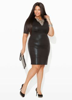 Ashley Stewart Textured Faux Leather Dress