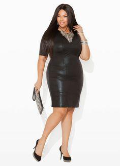 Ashley Stewart Textured Faux Leather Dress