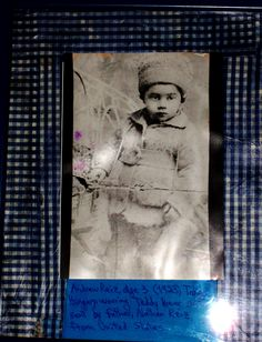 Well, not primarily decoupage, but I added the blue checkering surrounding the photo of my dad at age 3 (1923) in Tokaj, wearing the Teddy Bear suit his father sent him from the US