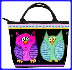 Cute Owls Small Handbag, Owl Purse - From My Original Painting, Lydia and Harry - Top handle bags (*Amazon Partner-Link)