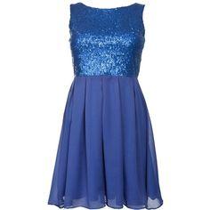 Madam Rage Blue Sequin Cream Pleated Dress ($48) ❤ liked on Polyvore