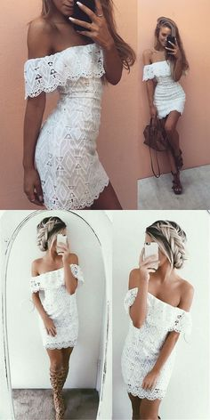 white off the shoulder tight formal dresses, lace bodycon short homecoming dresses, simple sheath short party dresses