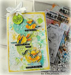 AALL & Create Guest Designer Project - You Quack Me Up. Gift Bag decorated with Quack The Duck stamp set #135 and Stencils Lotza Dotz #39 and Digital Bubbles #45