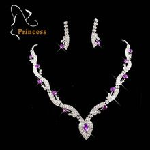 Free Wings Fashion Rhinestone Bridal Jewelry Wedding Bride Party Purple White Necklaces Earrings Sets Jewellery For Women