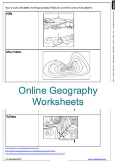 Grade 9 Online Geography works sheets! Contours on maps. For more work sheets visit www.e-classroom.co.za!