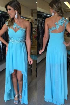 Women's Pretty Chiffon High Low Sweetheart Blue Bridesmaid Dresses with Lace Appliques,One Shoulder Strap Formal Occasion Dresses PD245