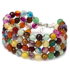 Beaded Multicolour Bracelet Rhodium Plated Sterling by MYNESS