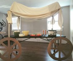 Anson's First Birthday   Pilgrim and Indian party   Covered Wagon Table