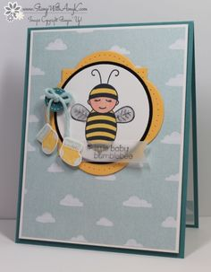 """STAMPS: Baby Bumblebee, Something for Baby.  PAPER:  Vellum, Daffodil Delight, Basic Black, Lost Lagoon, Whisper White, Sweet Dreams DSP.  INK:  Memento Tuxedo Black, Jet Black Stazon, Markers.  PUNCHES:  Hexagon, 2-1/2"""" Circle.  OTHER:  Big Shot, Baby's First Framelits, Window Frame Framelits, Circle Collection Dies, Festive Paper Piercing Pack, Paper Piercing Tool, Painted Blooms Cotton Twine, Rhinestones, Dazzling Details, Sweet Dreams Designer Buttons, Dimensionals, Glue Dots."""