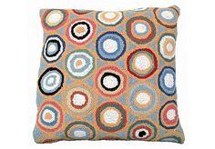 Blue Pennies Hooked Wool Pillow