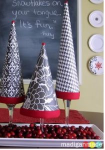 20 DIY Christmas Decor Ideas - shows another option of placing tree on top of wine glasses instead of candle sticks