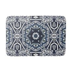 Chic Antique Dutch Delfts Blue Floral Pattern Bathroom Mat - pattern sample design template diy cyo customize