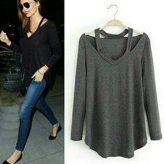 DARK GRAY LONG SLEEVE CUTOUT TOP PLEASE DO NOT BUY THIS LISTING. Let me know what size you want and I will create another post for you to buy. Cutout in the shoulder area. Wear with leggings or skinny jeans. Tops Blouses