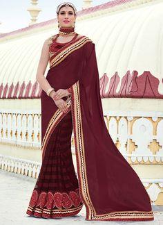 Replenishing Maroon Chiffon Moti Work Indian Designer Latest Saree At Best Price By Uttamvastra - Online Shopping For Women