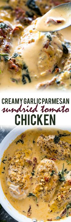 Chicken cooked in a creamy garlic parmesan and sun-dried tomato sauce all in one pan in under 30 minutes. Serve with zucchini noodles, veggies or a salad for a low-carb protein packed lunch or dinner! Sundried Tomato Chicken, Garlic Parmesan Chicken, Keto Chicken, Low Carb Protein, Low Carb Keto, Sun Dried Tomato Sauce, Dried Tomatoes, Jai Faim, Good Food
