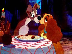 Most Famous Kisses - 'Lady and the Tramp' - Pampered cocker spaniel Lady falls in love with the Tramp, a mutt who lives on the streets. Their kiss happens as they share the same spaghetti noodle: a beautiful and touching moment.