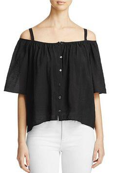 c6d93ae63e7d8 Shoptiques Product  Button Front Cold Shoulder Top - main Black White  Fashion