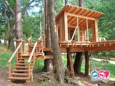 From simple tree house plans for kids to the big ones for adult that you can live in. If you're looking for tree house design ideas. Find and save ideas about Tree house designs. Simple Tree House, Diy Tree House, Adult Tree House, Tree House Plans, Cool Tree Houses, Tree House Designs, Green Architecture, Sustainable Architecture, Pavilion Architecture