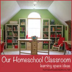 Our #Homeschool Room via Homeschool Creations. Includes links to a video tour and ideas for organizing.