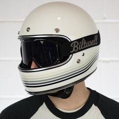 Biltwell Gringo Limited Edition Helmet - Gloss White Spectrum with Biltwell Moto Goggles