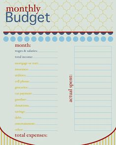 teenage budget worksheet