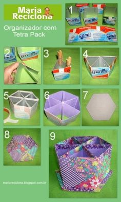 Tetra Pack turns into box. Nice storage idea for small items in bathroom or craft room Mais Recycled Crafts, Diy And Crafts, Diy Projects To Try, Craft Projects, Diy Paper, Paper Crafts, Tetra Pack, Milk Box, Cardboard Crafts