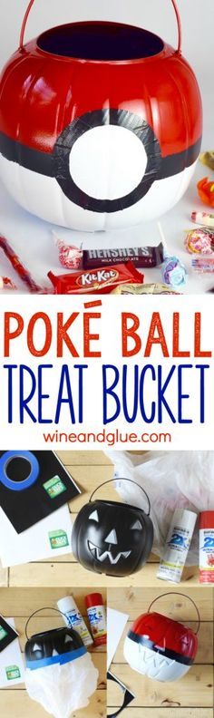This Poké Ball Treat Bucket is such a super simple craft that will make your kiddo thrilled with their Pokémon Costume!
