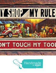 """My Shop, My Rules"" - 8""x12"" 3 Piece Reclaimed Pallet Wood Sign - Handmade in Nashville, TN from Sawyer's Mill Inc. http://www.amazon.com/dp/B01AHN8MZY/ref=hnd_sw_r_pi_dp_viyUwb0TJ3FC3 #handmadeatamazon"
