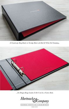 Bespoke ring binder to be used as a company visitors to book for London agency Dragon Rouge. Portfolio Examples, Portfolio Book, Portfolio Design, Portfolio Layout, Presentation Binders, Company Presentation, Binder Tabs, Ring Binder, Leather Notepad