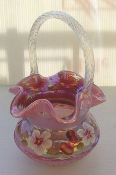 Fenton Raspberry Opalescent Iridized Glass Adams Rib Basket