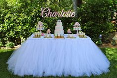Custom colored tulle tablecloth - pick any color you like and it will be custom made for your event! This is adorable for a ballerina party, baby