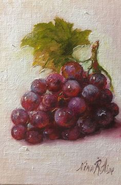 Grapes Cluster with Leaf Original Oil Painting by NinaRAideStudio
