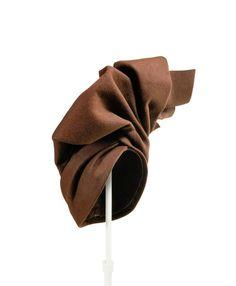 "Brown turban, by ""Davis"", Paris, 1940-1945, France - During the Second World War women started to wear turban-like arranged scarfs. The Parisian milliner Davis created a fixed turban form using woollen felt. Kunstgewerbemuseum, Staatliche Museen zu Berlin."