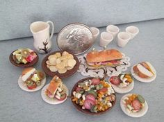 Dollhouse Miniature half scale picnic set made by hand out of polymer clay