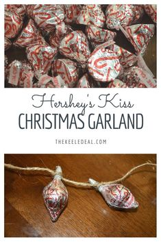 Hershey's Kiss Christmas Garland a fun and yummy Christmas Craft. It makes a cute DIY Christmas Ornament #christmas #craft #DIY Diy Christmas Ornaments, Diy Christmas Gifts, Christmas Projects, Family Christmas, Holiday Crafts, Holiday Fun, Christmas Bells, Xmas, Candy Crafts