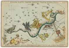 Urania's Mirror, or a View of the Heavens, one of a set of thirty-two engraved and hand-coloured tissue-backed celestial charts for educational use by novice astronomers, engraved by Sidney Hall and published by Samuel Leigh, London, c. 1823, entitled 'The constellations Noctua, Corvus, Crater, Sextans Uraniae, Hydra, Felis, Lupus, Centaurus, Antila Pneumatica, Argo Navis and Pyxis Nautica'