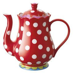 Red polka dot tea pot - so cute!