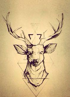 Geometric reindeer tattoo