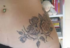 Image result for black and grey floral hip tattoos