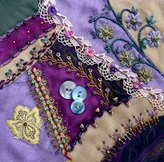 Crazy Quilts and Crazy Quilting. LOVE to crazy quilt! Crazy Quilting, Crazy Quilt Stitches, Crazy Quilt Blocks, Patch Quilt, Silk Ribbon Embroidery, Embroidery Stitches, Hand Embroidery, Embroidery Patterns, Flower Embroidery