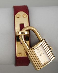 Hermes Kelly Red Strap Gold Watch