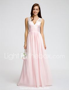 d5e31eabd3c3 A-Line V Neck Floor Length Chiffon   Lace Bodice Bridesmaid Dress with Lace    Sash   Ribbon   Ruched by LAN TING BRIDE®   Open Back 2019 - US  109.99