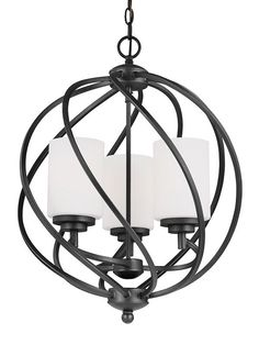 The transitional Goliad lighting collection by Sea Gull Lighting has a sophisticated style combining divergent design elements. The rustic wrought iron has been hand-crafted into soft, flowing curves.
