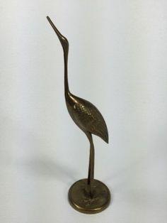 Old-Vintage-Solid-Brass-Crane-Heron-Egret-Stork-Bird-Sculpture-Statue-Decor