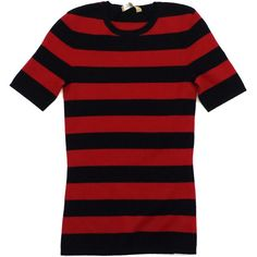 Pre-owned Michael Kors Black & Red Striped Cashmere Sweater (3.795 CZK) ❤ liked on Polyvore featuring tops, sweaters, cashmere crewneck sweater, striped cashmere sweater, striped sweater, red cashmere sweater and crew neck sweaters