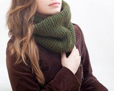 Green Infinity Scarf Chunky Scarf collar scarf Knit Scarf (29.00 USD) by FabricFoxClub