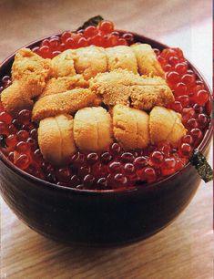 Uni-Ikura-Don. Sea urchin and salmon caviar over rice. #JapaneseFood #SeaUrchin…