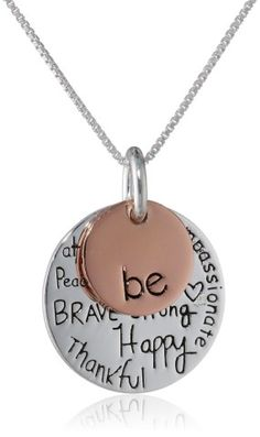 """Two-Tone Sterling Silver with Rose Gold Flashed """"Be Kind Free True Brave Strong Happy Thankful Compassionate"""" Two Charm Graffiti Necklace"""