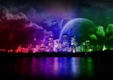 Clouds Cityscapes Multicolor Planets Buildings Rainbows