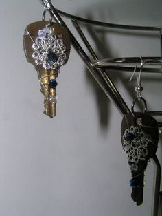 Recycled Key Dangle Wire Wrapped Earrings $8.00
